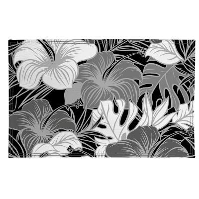 Individuales flores en gris 4 unidades ecocuero