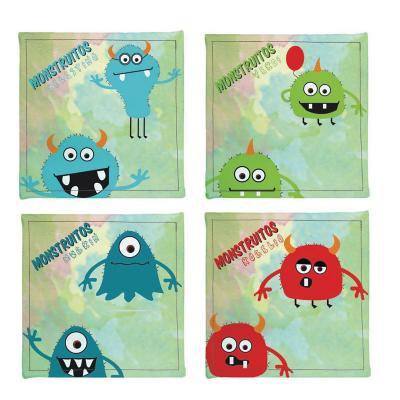 Posavasos monstruitos 4 unidades ecocuero