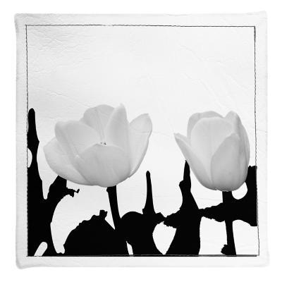 Posavasos flores blanco&negro 4 unidades ecocuero