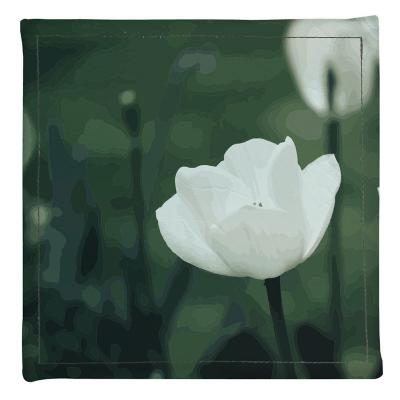 Posavasos 4 unidades flor blanca ecocuero