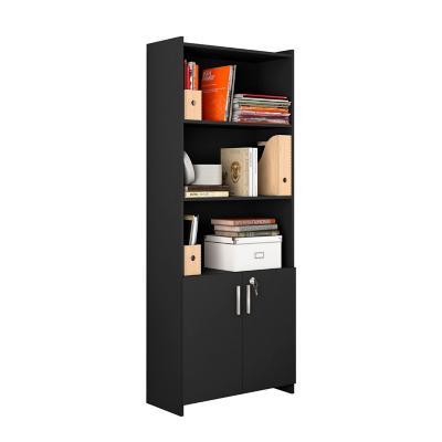 Librero 2 puertas + cerradura negro 178x70x31 cm