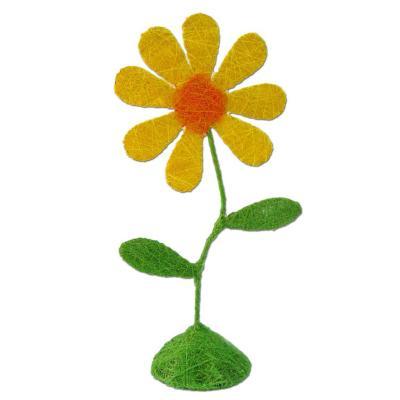 Flor sisal color amarillo 43 cm