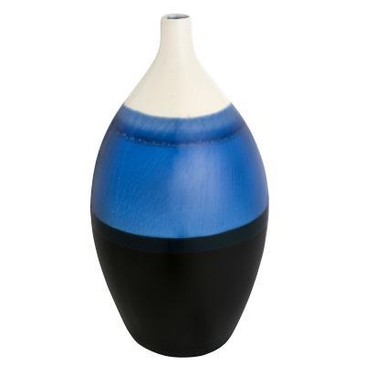 Florero de cerámica azul 30x14 cm