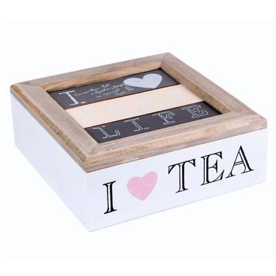 Caja de té madera 7x18 cm blanca