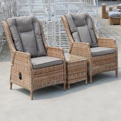 Juego de terraza sillas reclinables 3 piezas