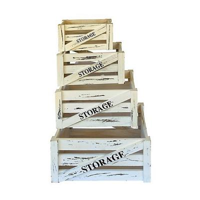 Set 4 cajas organizadoras storage madera blanco