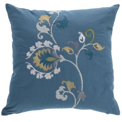 Cojín flores bordados azul 45x45 cm