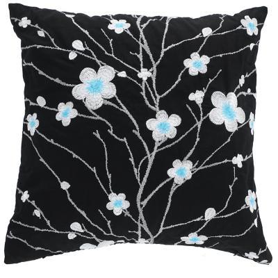 Cojín japón bordado flores negro 45x45 cm