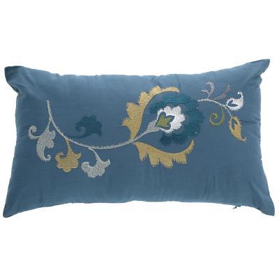 Cojín flores bordados azul 30x50 cm