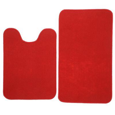 Set baño 2 piezas antideslizante rojo