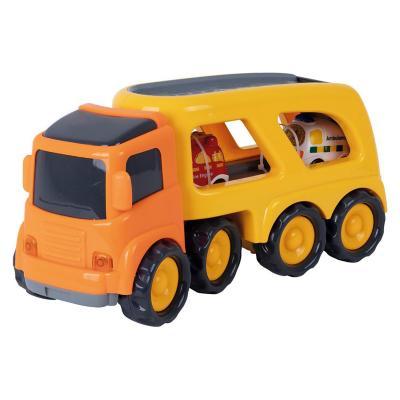 Camión de juguete transportador de autos amarillo
