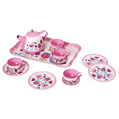 Set 15 piezas tacitas de té metálico rosado