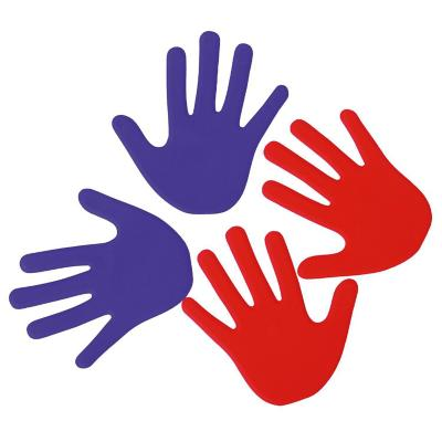 Set 12 huellas de mano plástico rojo y azul