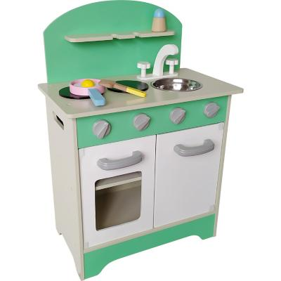 Cocina madera con accesorios verde/blanco