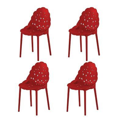 Pack 4 sillas andria 56x86x45 cm Rojo