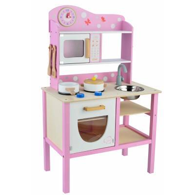 Cocina madera con accesorios rosado/blanco