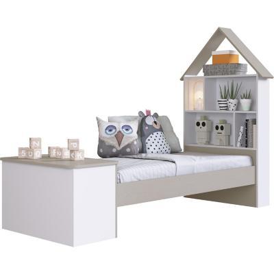 Cama casita 83x143,5x202 cm blanca