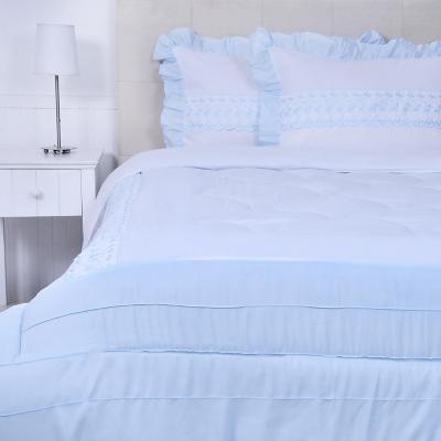 Quilt cobertor rosa blanco/celeste 2 plazas