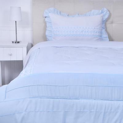 Quilt cobertor rosa blanco/celeste 1,5 plazas