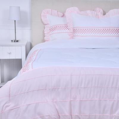 Quilt Margarita cálido blanco/rosa 2 plazas