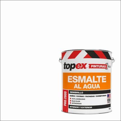 Esmalte al agua topex pro 2000 semibrillo blanco 1gl