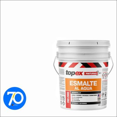 Esmalte al agua topex pro 2000 semibrillo blanco 5gl
