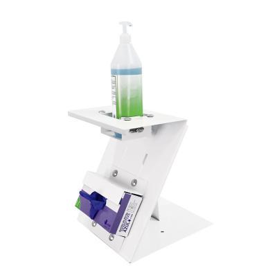 Pedestal dispensador sobremesa de guantes y alcohol gel 30x30x30 cm
