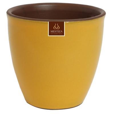 Macetero zafiro ceramica 17x16 cm mostaza