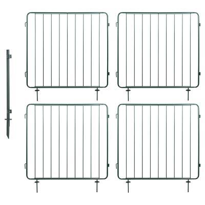 Combo 4 Rejas Modulares Metal 100x100 cm Verde + 1 Poste Refuerzo Verde