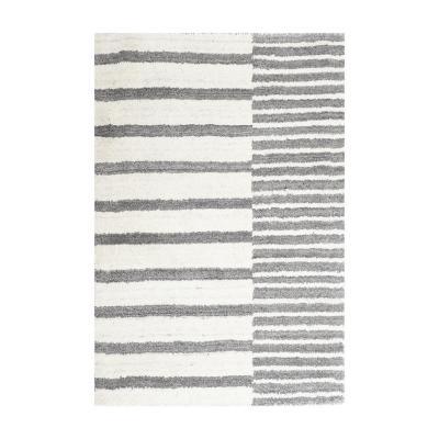 Alfombra handloom 60x90 cm raya natural/gris