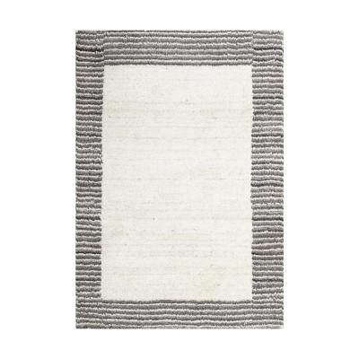 Alfombra handloom 60x90 cm borde natural/gris
