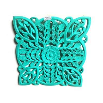 Mandala Pared Cuadrado 41x2,5x41 cm turquesa