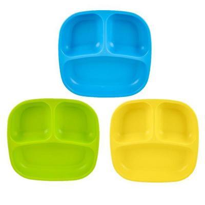 Set 3 Platos División Azul, Verde y Amarillo