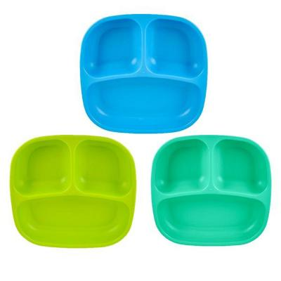 Set 3 Platos División Azul, Verde Limón, Celeste