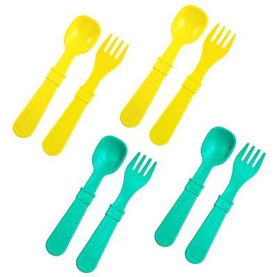 Set cubiertos ecológicos infantil 8 piezas Aqua