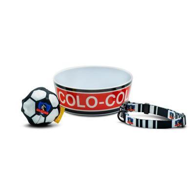 Pack perro futbol colo colo  plato+collar+pelota