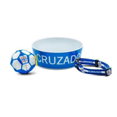 Pack perro futbol uc plato+collar+pelota