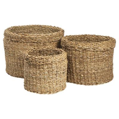 Set de 3 canastos cilindro sea grass
