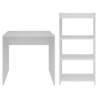 Kit escritorio + estante melamina blanco