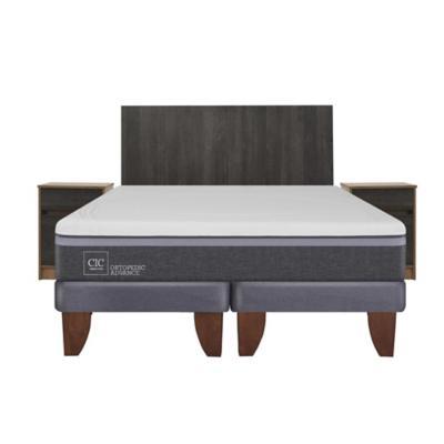 Cama europea ortopedic advance 2 plazas bd + muebles