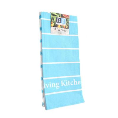 Set 3 Paños Cocina Turquesa Living Blue