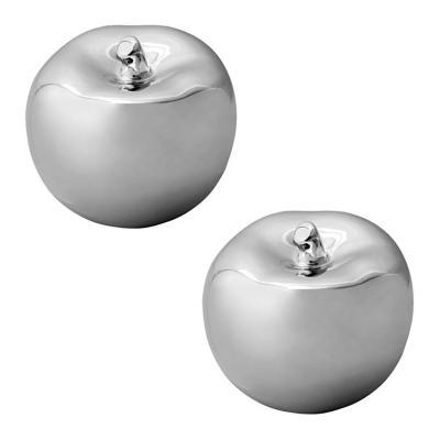 Pack 2 figuras manzanas de cerámica plateadas