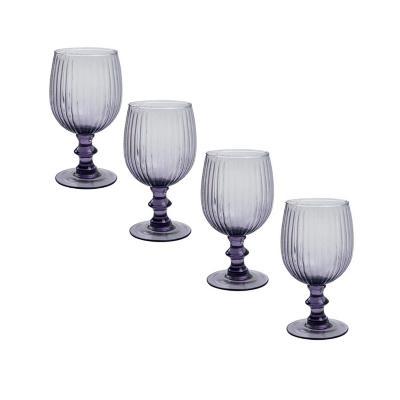 Set copas de vidrio 350 ml morado 4 unidades