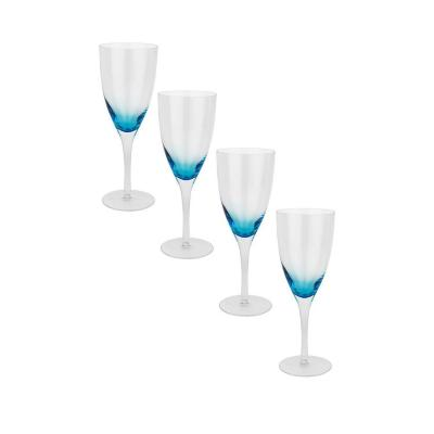 Set copas de vidrio 400 ml azul 4 unidades