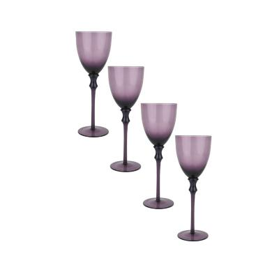 Set copas de vidrio 450 ml morado 4 unidades
