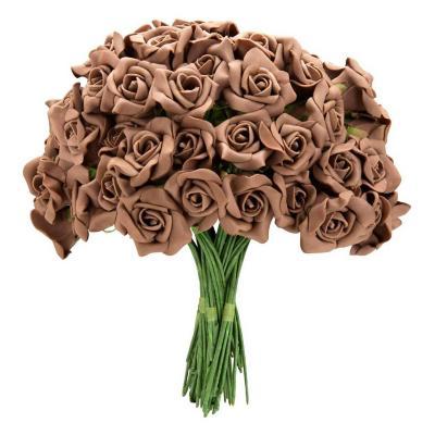 Ramo de 12 rosas artificiales color café