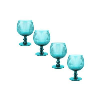 Set copas de vidrio 350 ml celeste 4 unidades
