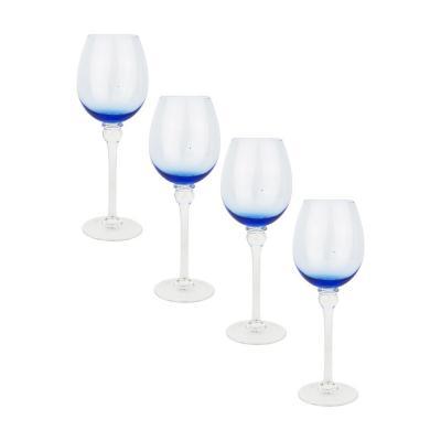 Set copas de vidrio 560 ml azul 4 unidades