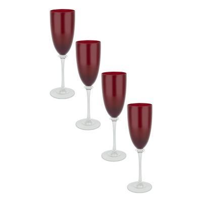 Set copas de vidrio 350 ml rojo 4 unidades