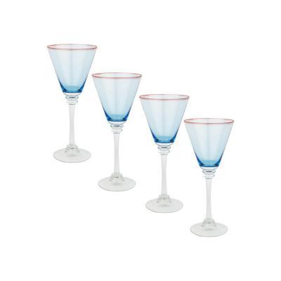 Set copas de vidrio 440 ml azul 4 unidades